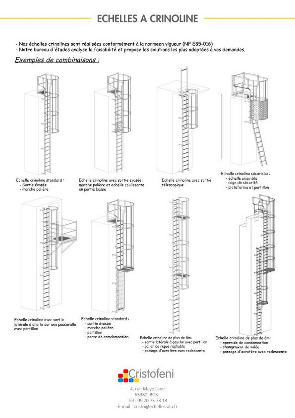 échelle à Crinoline En Aluminium , Crinoline En Acier Galvanisé, Echelle  Crinoline Acier Inoxydable,