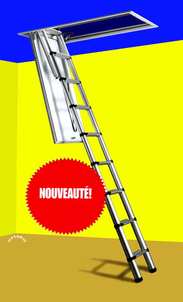 Prix chelle t lescopique de grenier marches plates et for Monter un escalier escamotable
